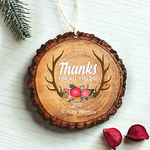 Baudville Holiday Gift Wood Slice Ornament 2018