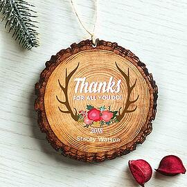 Baudville Holiday Gift Wood Slice Ornament 2018
