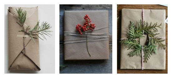 DIY Holiday Gift Wrap Simple Greenery and Floral